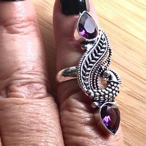 Double Purple Amethyst Gemstone Peacock Ring